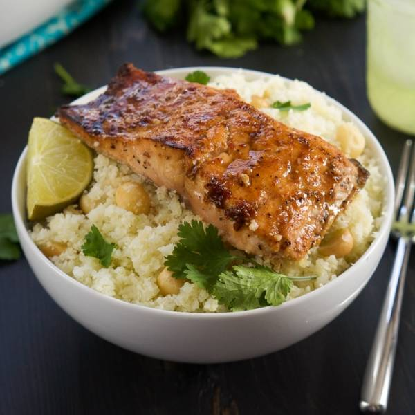 Chipotle Salmon with Cauliflower Rice